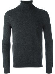Saint Laurent Distressed Roll Neck Jumper Grey