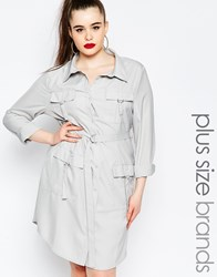Missguided Plus Pocket Long Sleeve Shirt Dress Gray