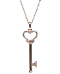 Effy Collection Pave Rose By Effy Diamond Diamond Heart Key Pendant 1 5 Ct. T.W. In 14K Rose Gold