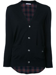 Astraet Plaid Back V Neck Cardigan Black