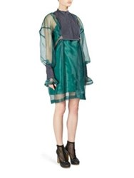Sacai Sheer Overlay Quilted Dress Green