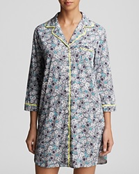Dkny Three Quarter Sleeve Sleepshirt Royal Navy Floral