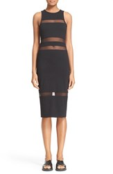 Women's T By Alexander Wang Mesh Stripe Ponte Knit Dress Black