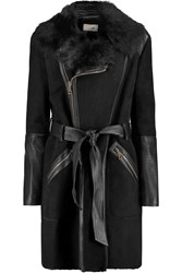 Temperley London Mila Leather Paneled Shearling Coat Black