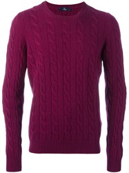 Fay Cable Knit Jumper Pink And Purple