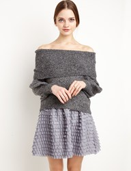 Pixie Market Grey Ruffled Mini Skirt