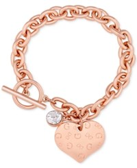 Guess Heart Charm Toggle Link Bracelet Rose Gold
