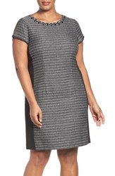 Ellen Tracy Plus Size Women's Embellished Jacquard And Ponte Sheath Dress