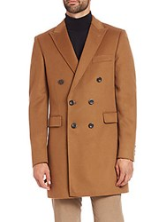 Saks Fifth Avenue Double Breasted Wool And Cashmere Coat Beige