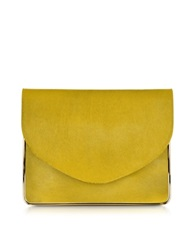 Carven Saint Sulpice Daffodil Haircalf Clutch W Metal Detail Chartreuse