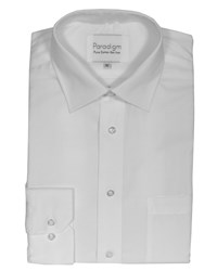 Double Two Men's Long Sleeve Non Iron Formal Shirt White