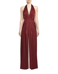 Jill Stuart Solid Halterneck Wide Leg Jumpsuit Brown
