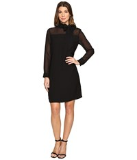 Vince Camuto Long Sleeve Tie Neck Dress With Chiffon Sleeves Yoke Rich Black Women's Dress