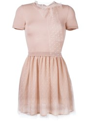 Red Valentino Tulle Skirt Knit Dress Pink And Purple