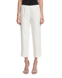 Neiman Marcus Lined Linen Blend Cropped Pants White Women's