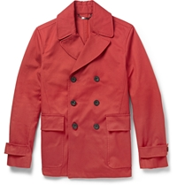 Hardy Amies Leather Trimmed Cotton Canvas Peacoat Red