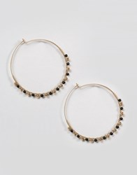 Ny Lon Nylon Beaded Hoop Earrings Gold Black