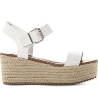 Steve Madden Surfa Espadrilles Leather Platform Sandals White Leather
