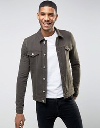 Asos Muscle Fit Jersey Western Jacket In Khaki Hunter Green