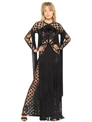 Elie Saab Fringed Polka Dot And Lace Tulle Dress