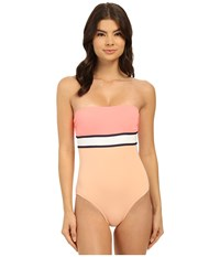 Vince Camuto Beach Front Bandeau Maillot W Removable Soft Cups Coral Sugar Women's Swimsuits One Piece Pink