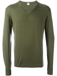 Massimo Alba V Neck Jumper Green