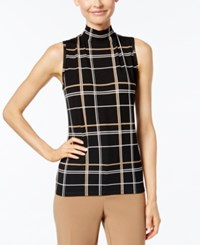 Charter Club Plaid Mock Neck Shell Only At Macy's Deep Black Combo