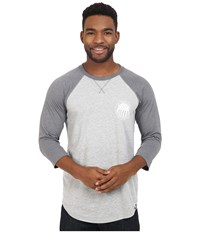 The North Face 3 4 Sleeve Usa Baseball Tee Tnf Light Grey Heather Tnf Medium Grey Heather Men's Clothing White