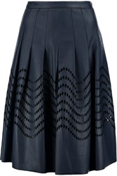 Halston Pleated Laser Cut Faux Leather Skirt Blue