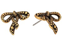 Marc Jacobs Small New Bow Studs Earrings Antique Gold Earring