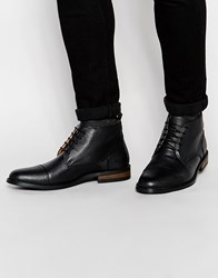 Peter Werth Lace Up Ankle Boots In Black Leather Black