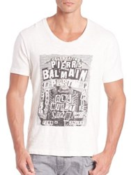Balmain Party Invitation Graphic T Shirt Off White