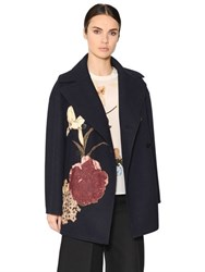 Valentino Floral Patch Felted Wool Coat