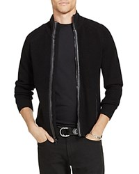 Polo Ralph Lauren Merino Wool Leather Trim Zip Cardigan Polo Black