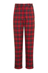 Topshop Tartan Mensy Peg Trousers Red