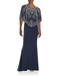 Betsy And Adam Layered Embellished Dress Navy