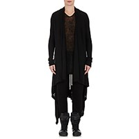 Rick Owens Men's Draped Front Long Cardigan Black Blue Black Blue