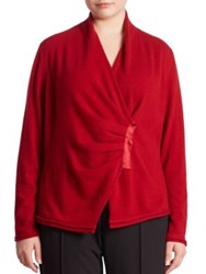 Lafayette 148 New York Cashmere Gathered Asymmetrical Sweater Ruby Red
