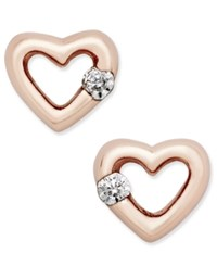 Giani Bernini Cubic Zirconia Heart Stud Earrings In 18K Rose Gold Plated Sterling Silver Only At Macy's