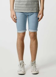 Topman Bleach Spray On Denim Shorts Blue