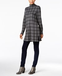 Styleandco. Style Co. Petite Windowpane Mock Neck Tunic Only At Macy's Grey Combo