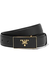 Prada Textured Leather Waist Belt Black