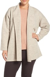 Eileen Fisher Plus Size Women's Boiled Wool Shawl Collar Coat Maple Oat