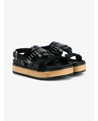 Alexander Mcqueen Leather Slingback Sandals With Studded Fringing Black Leopard