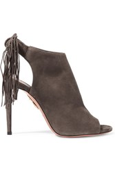 Aquazzura Fringed Suede Sandals Dark Gray