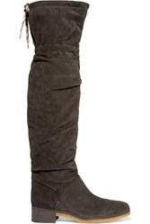 See By Chloe Suede Over The Knee Boots Charcoal