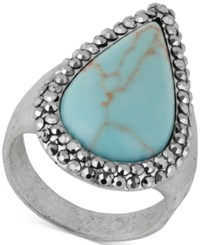 Lucky Brand Silver Tone Turquoise Look Statement Ring