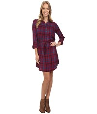 Lucky Brand Bungalow Plaid Dress Burgundy Multi Women's Dress