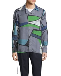 Berluti Colorblock Abstract Print Woven Shirt Dark Gray Men's