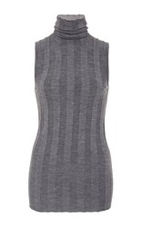 Derek Lam Ribbed Sleeveless Turtleneck Light Grey